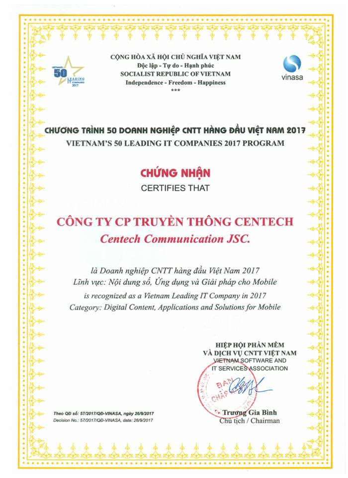 VN names 50 top IT enterprises & Centech has been proud to be one of them